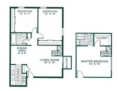 Layout of Three Bedroom floor plan.