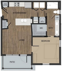 Layout of Unit A floor plan.