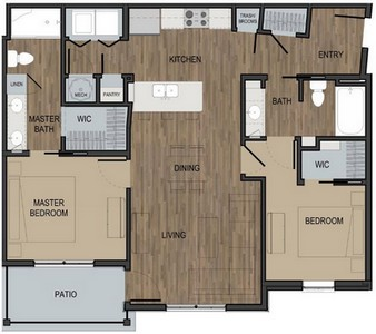 Layout of Unit B floor plan.