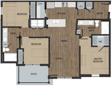 Layout of Unit C floor plan.