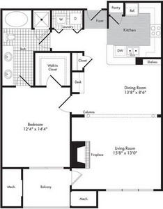 Layout of One Bedroom/One Bath - Martius  floor plan.