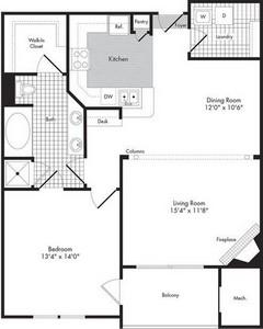 Layout of One Bedroom/One Bath - Titus floor plan.