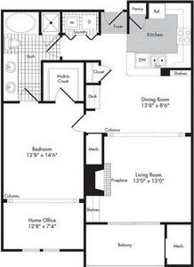 Layout of One Bedroom/One Bath w/Home Office - Bertram floor plan.