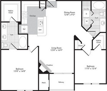 Layout of Two Bedroom/Two Bath - Thesus floor plan.