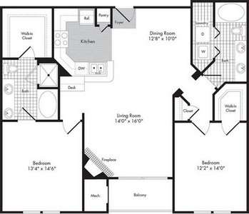 Layout of Two Bedroom/Two Bath - Troilus floor plan.