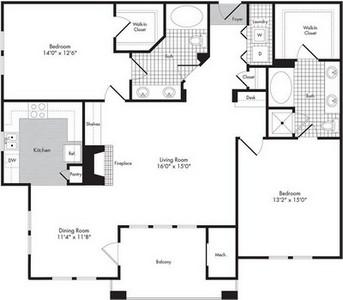 Layout of Two Bedroom/Two Bath - Sebastian floor plan.