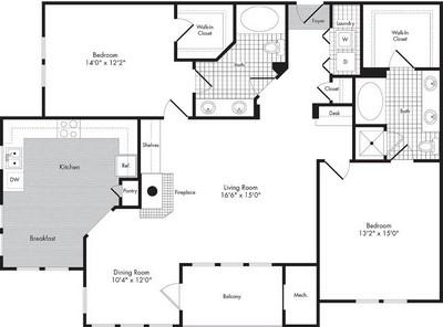 Layout of Two Bedroom/Two Bath - Lennox  floor plan.