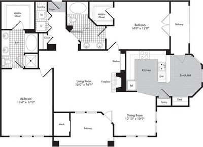 Layout of Two Bedroom/Two Bath - Cressida  floor plan.