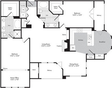 Layout of Two Bedroom/Two Bath w/Home Office - Malvolio floor plan.