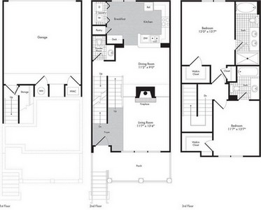 Layout of Two Bedroom- Two 1/2 Bath Town Home - Saturnius floor plan.