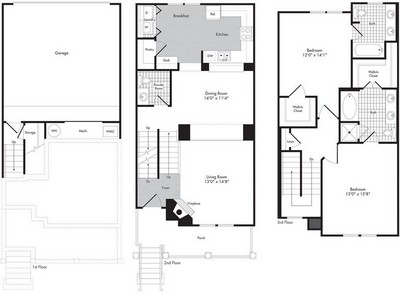 Layout of Two Bedroom - Two 1/2 Bath Townhome - Petruccio floor plan.