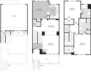 Layout of Two Bedroom - Two 1/2 Bath Town Home - Orsino floor plan.