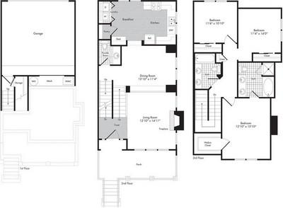 Layout of Three Bedroom - Two 1/2 Bath Town Home - Artesius floor plan.