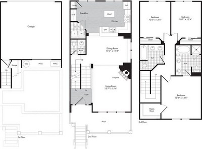 Layout of Three Bedroom - Two 1/2 Bath Town Home - Hippolyta floor plan.