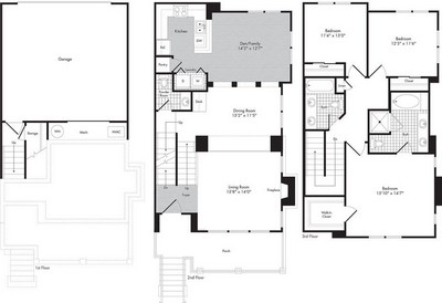 Layout of Three Bedroom - Two 1/2 Bath Town Home - Oberon floor plan.