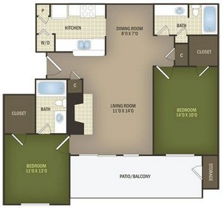 Layout of Willow Alternate floor plan.