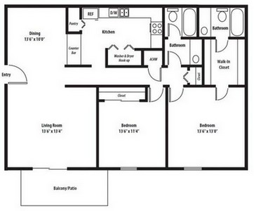 Layout of Monarch Renovated floor plan.