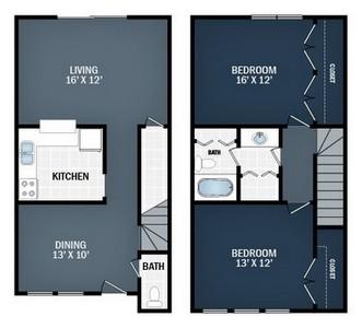 Layout of 2 Beds, 1 .5 Baths floor plan.