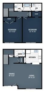 Layout of 2 Beds,  1.5 Baths  floor plan.
