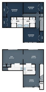 Layout of 3 Beds,  1.5 Baths floor plan.