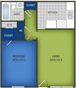 Layout of One Bedroom floor plan.