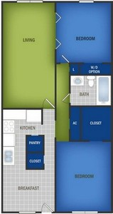 Layout of Small Two Bedroom floor plan.