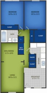Layout of Large Two Bedroom floor plan.