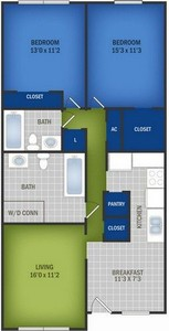 Layout of 2 Bedroom / 2 Bath floor plan.