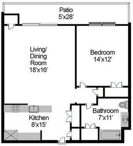 Layout of One Bedroom floor plan.