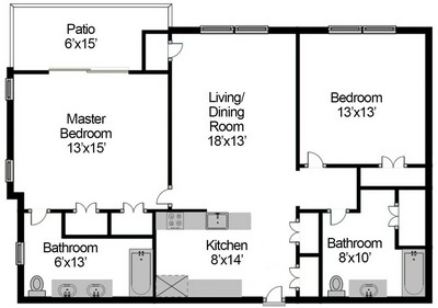 Layout of Two Bedroom Split floor plan.