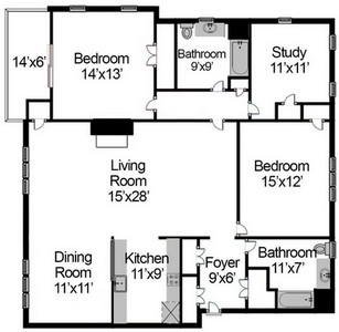 Layout of Two Bedroom with Study floor plan.