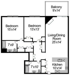 Layout of Two Bedroom Penthouse with Study floor plan.