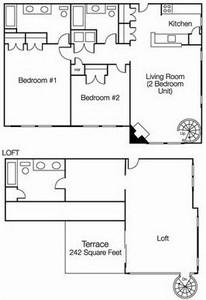 Layout of Three Bedroom Loft floor plan.