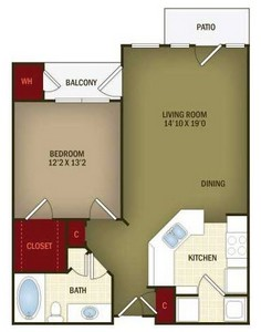 Layout of A2 floor plan.