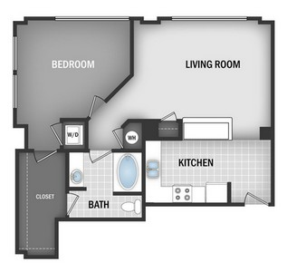 Layout of A1B floor plan.