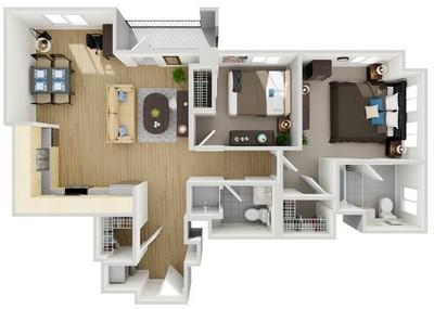 Layout of Unit 1 floor plan.