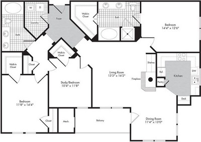 Layout of Three Bedroom / Two Bath - Octavia floor plan.