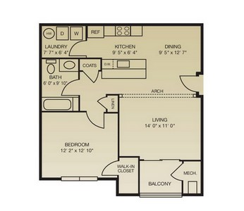 Layout of The Brandywine floor plan.