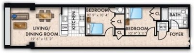 Layout of Two Bedroom One Bath floor plan.