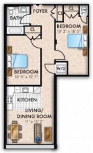 Layout of Two Bedroom One Bath Bi Level floor plan.