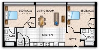 Layout of Two Bedroom Two Bath floor plan.