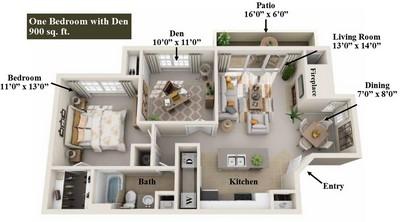 Layout of 1 Bedroom with Den floor plan.