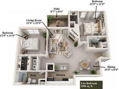 Layout of 2 Bedroom floor plan.