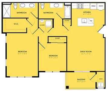 Layout of Luna B floor plan.