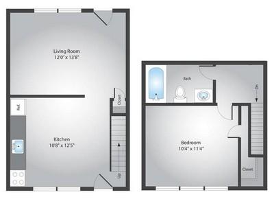 Layout of 1 Bedroom floor plan.