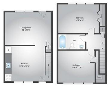 Layout of 2 bedroom floor plan.