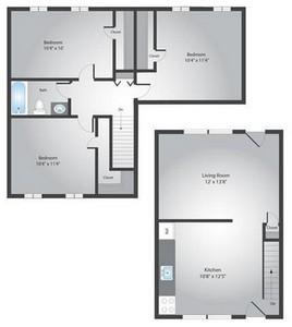 Layout of 3 bedroom floor plan.