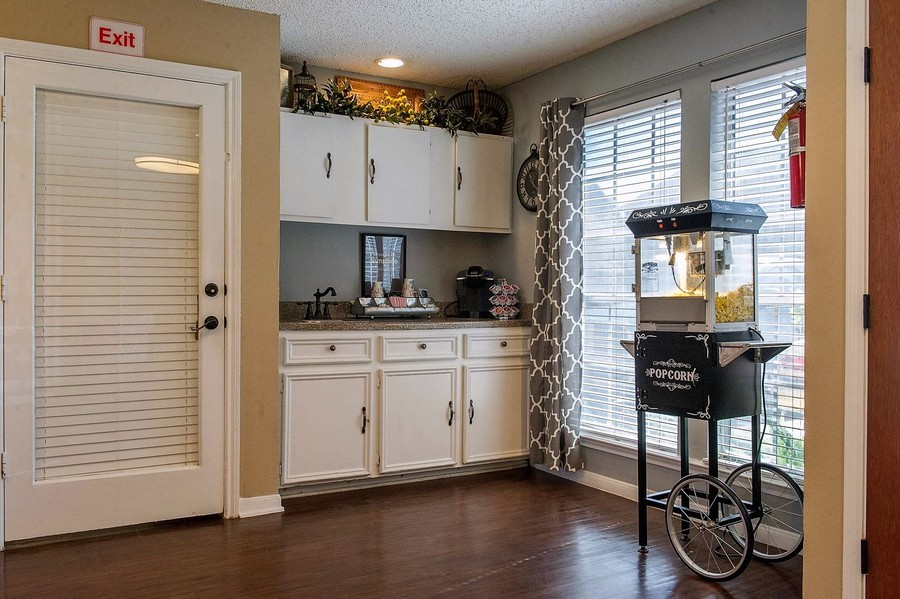 Resident coffee bar with popcorn maker