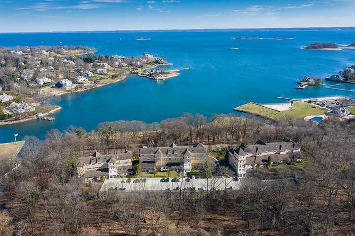 Aerial view of property overlooking Byram Park with spectacular views of Long Island Sound. Click to view the full size image.