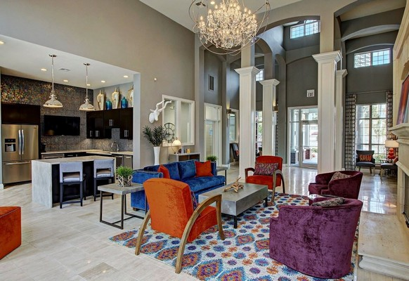 Resident lounge with seating and kitchen. Click to view the photo gallery.